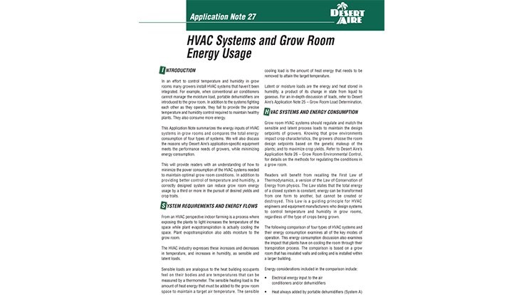 Desert Aire details grow room and indoor farm energy usage in new technical resource