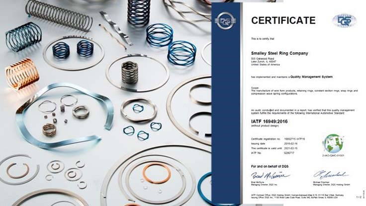 Smalley Steel Ring wins upgraded IATF certification