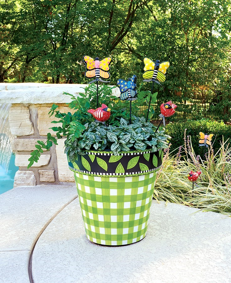 Green Gingham Art Planter
