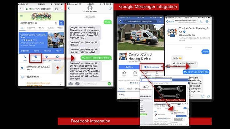 HomeServiceChats Integrates with Facebook and Google