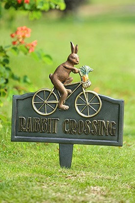 Rabbit Crossing Garden Sign