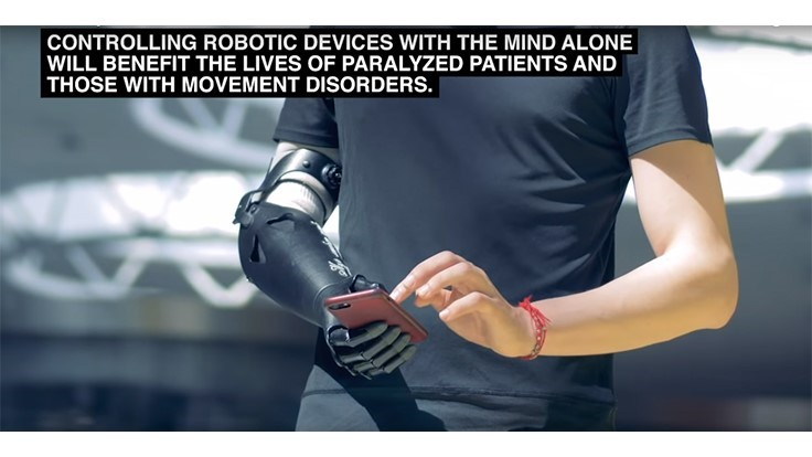 Non-invasive mind-controlled robotic arm (Video)