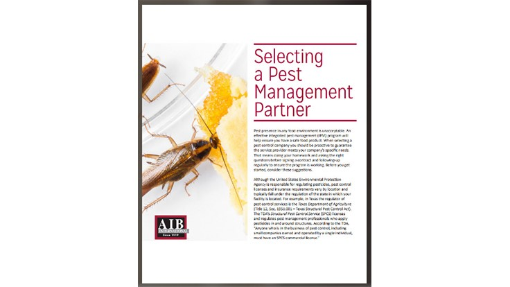 AIB Publishes E-book on Selecting a Pest Management Partner
