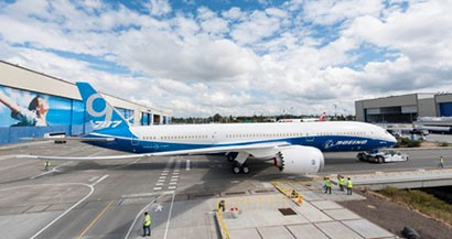 Boeing Rolls Out First 787-9 Dreamliner