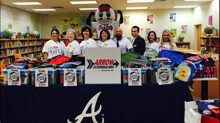 Arrow Exterminators Partners with the Atlanta Braves for School Supplies Drive