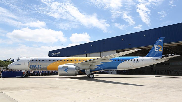 Embraer rolls out E195-E2 commercial jet