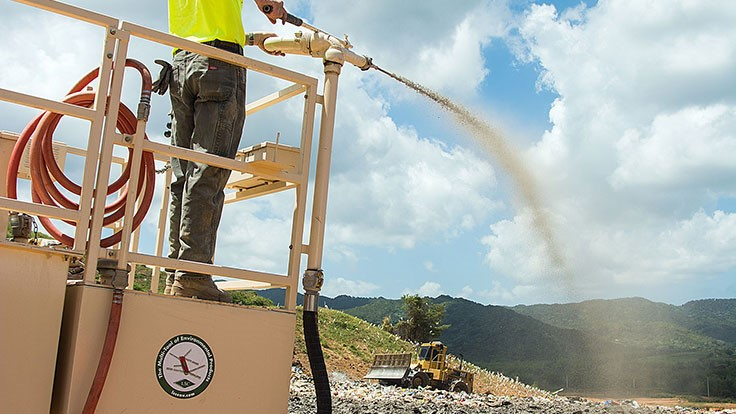 Colorado landfill saves on soil with waste latex paint and LSC spray
