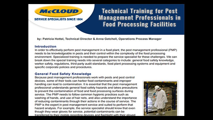 McCloud Releases White Paper on Food Processing Facilities Training for PMPs
