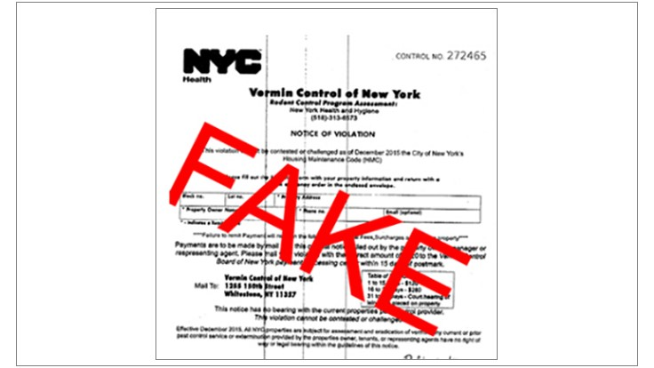 NYC Official Warns of 'Vermin Control of New York' Letter Scam
