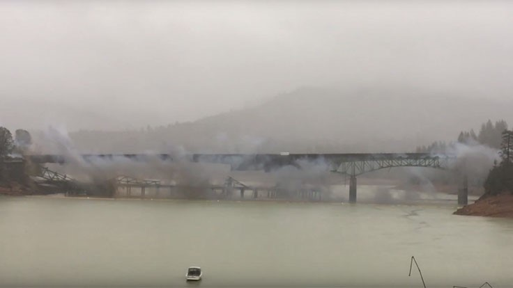 Rain interferes with California bridge implosion