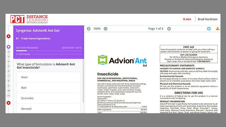 Advion Ant Gel Label Training Module Now Live on PCT's DLC