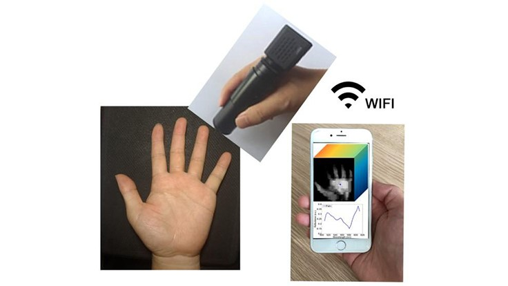 Wireless handheld spectrometer transmits to smartphone