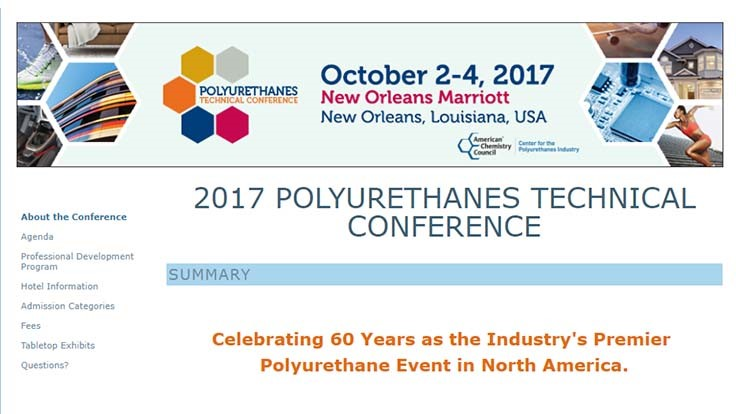 In-vehicle air quality discussions set for 2017 Polyurethanes Technical Conference