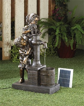 Whimsical boy and girl solar water fountain