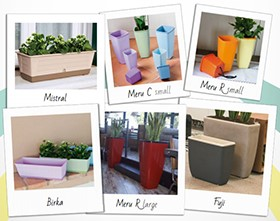 Bicolor pots and flower boxes