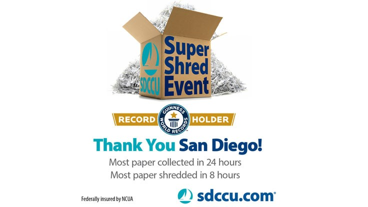 San Diego credit union breaks its Guinness World Records title at shred event