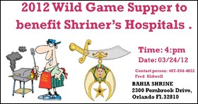 Wild Game Supper to Benefit Shriner's Hospital