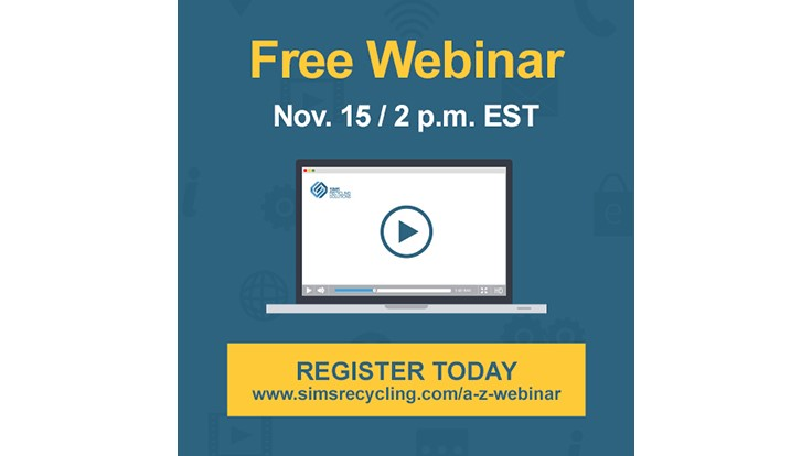 Sims Recycling Solutions schedules Nov. 15 webinar