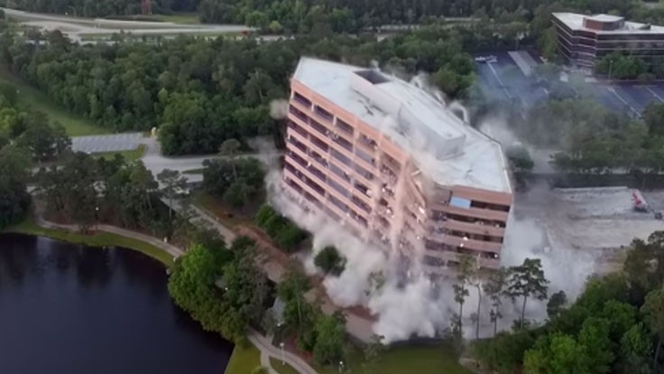 Texas office building comes down in controlled implosion