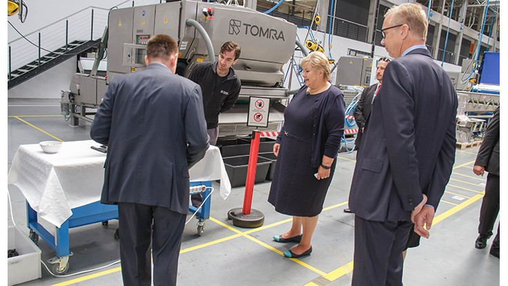 Tomra receives visit from Norwegian prime minister