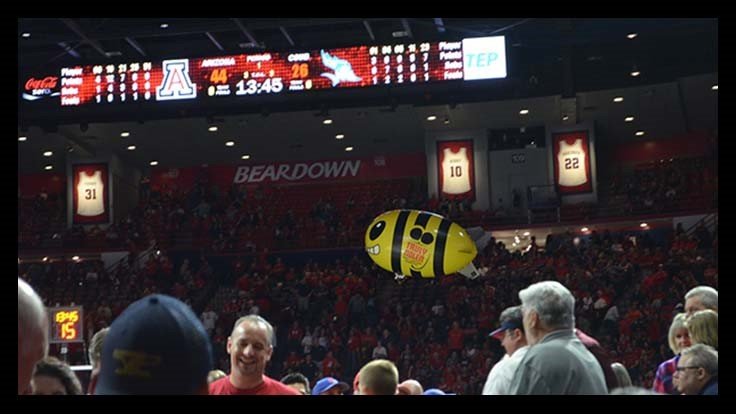 Truly Nolen Indoor Blimp Debuts at Arizona Wildcats Game