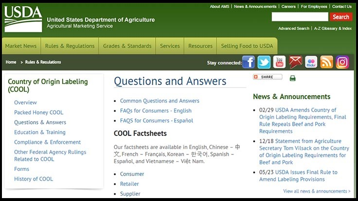 USDA Announces Country of Origin Labeling (COOL) Changes