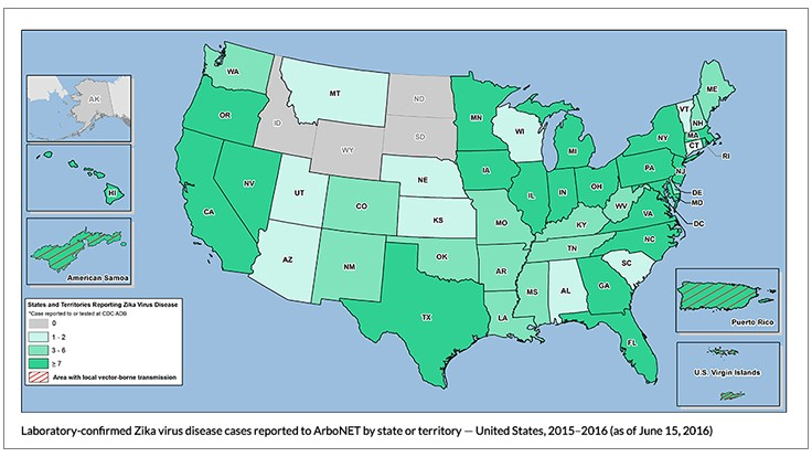 CDC Pregnant Women In US With Confirmed Zika Virus PCT - Virus map us