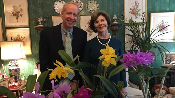Former first lady Laura Bush meets Virginia grower who named her orchid