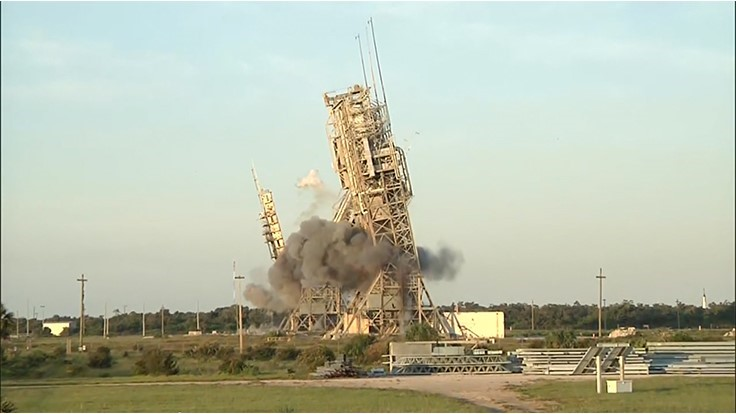 VIDEO: Two launch towers in Cape Canaveral implode