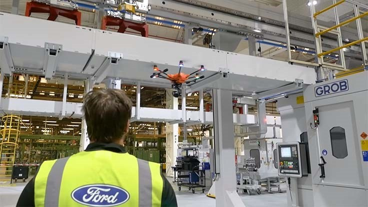 Ford uses drones to inspect equipment (Video)