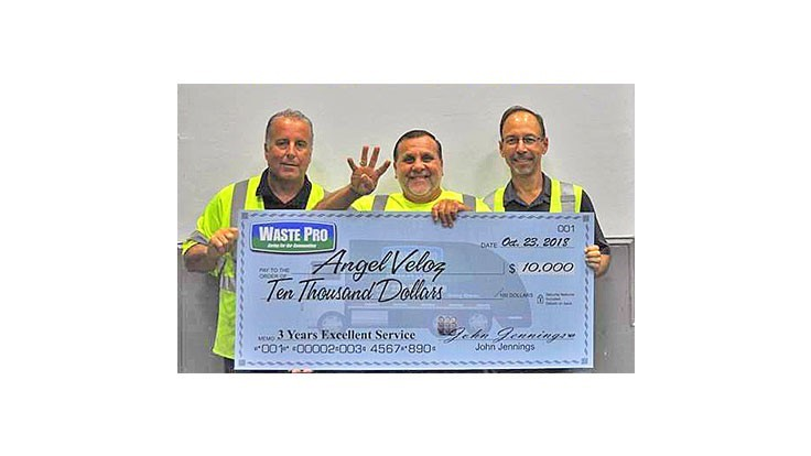 Fort Myers driver earns Waste Pro's $10,000 safety award
