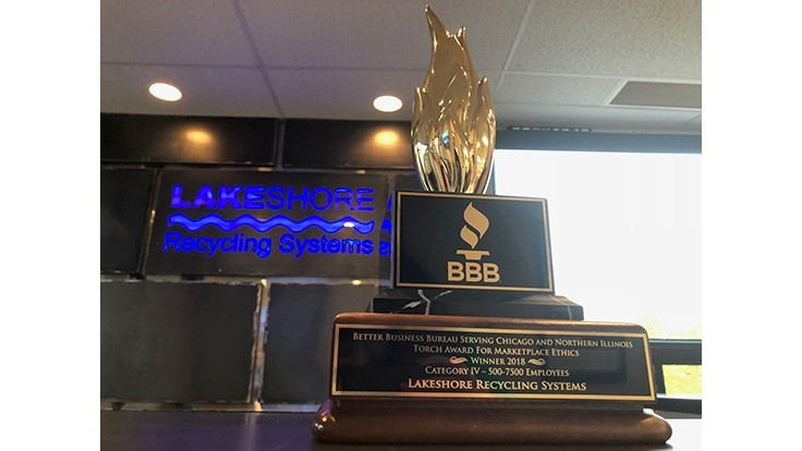 Lakeshore Recycling Systems receives BBB Torch Award