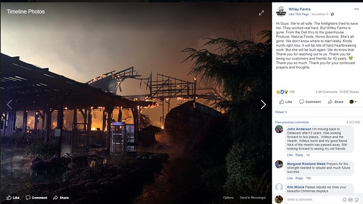 Fire destroys Delaware market and garden center