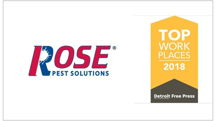 Rose Pest Solutions Named a Detroit Free Press 'Top Workplace' in 2018