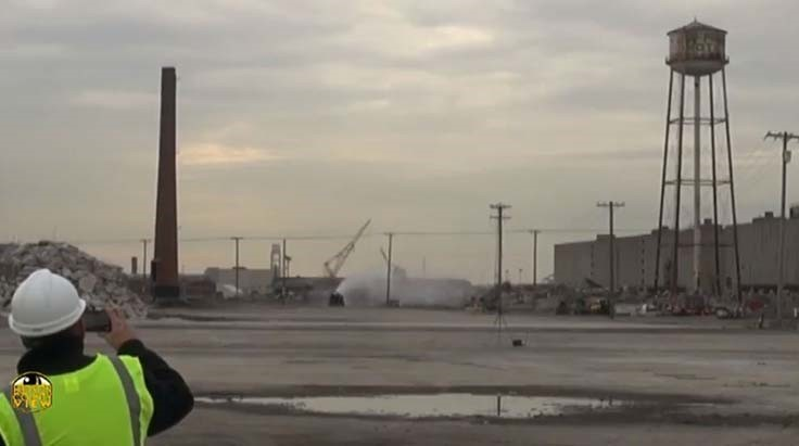 VIDEO: Smokestack, water tower imploded during final stages of site cleanup