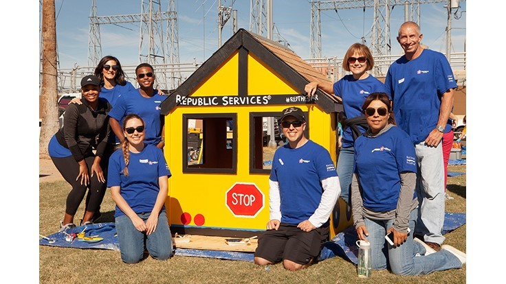 Republic Services surprises children with playhouses