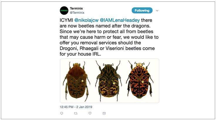 Terminix Offers Free House Lannister Beetle Services