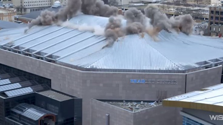 VIDEO: Former NBA arena roof imploded