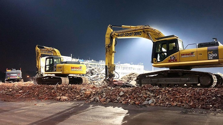 Rival demo companies bring down Old Dominion stadium