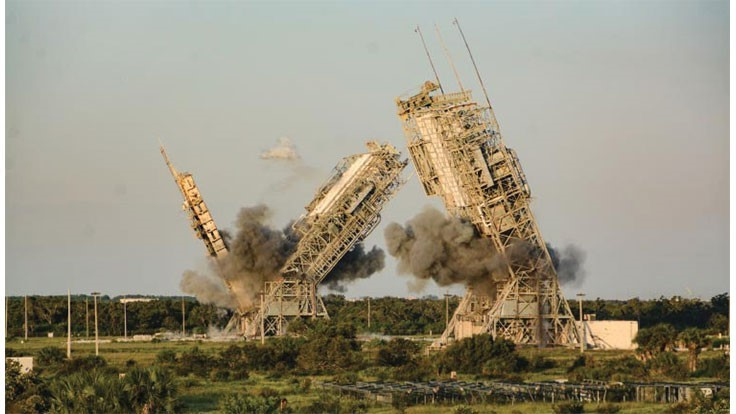 How explosives brought down two launch towers at Cape Canaveral