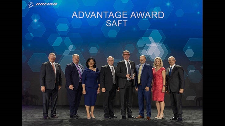 Saft receives Boeing Supplier of the Year award