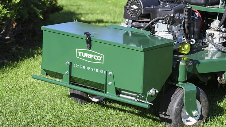 XT8 drop seeder attachment available on Turfco's TurnAer XT8