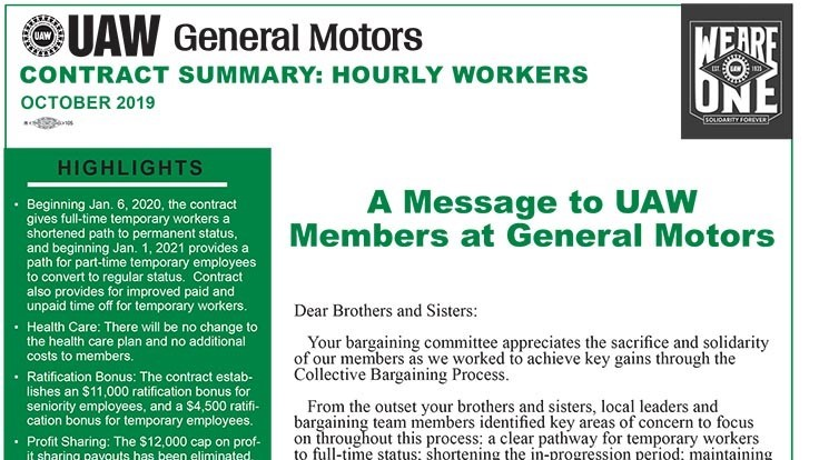 UAW releases GM contract outline, will keep workers on strike