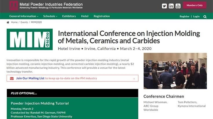 Metal injection molding conference registration opens