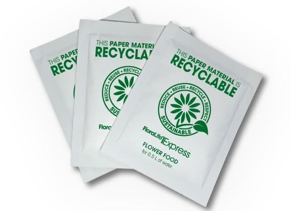 FloraLife introduces recyclable paper material for its flower food sachets