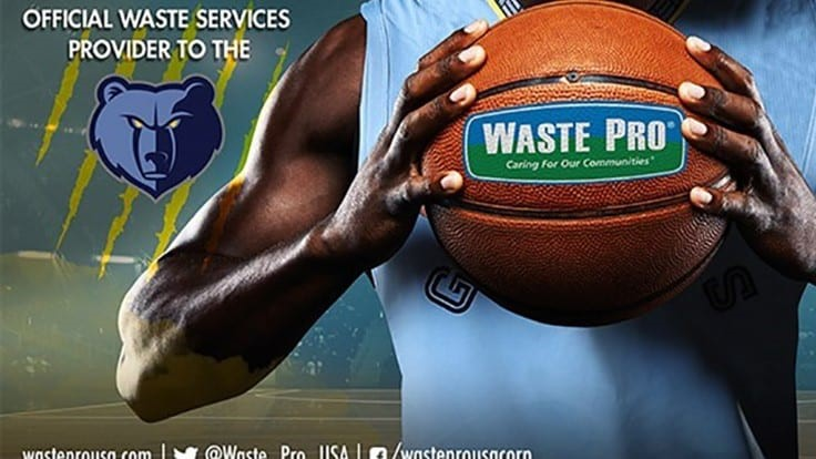 Waste Pro signs deal to become the official waste services provider to the Memphis Grizzlies