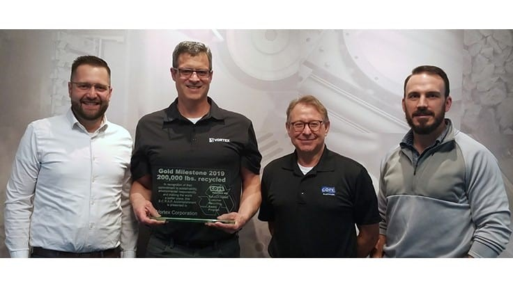 Vortex Global receives recycling award from Cope Plastics