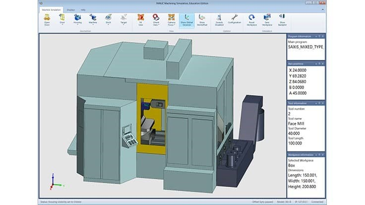 FANUC's CNC workforce solution includes 5-axis simulation