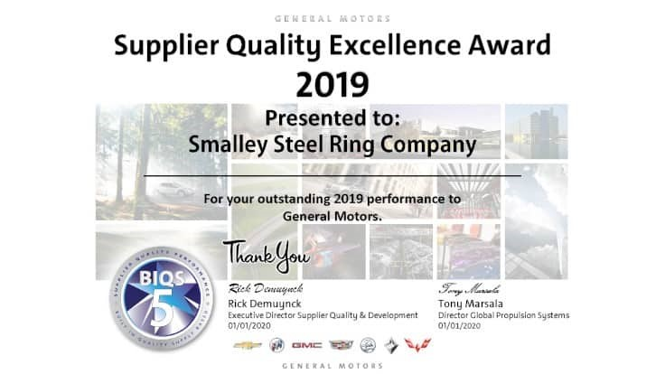 Smalley wins GM supplier quality award