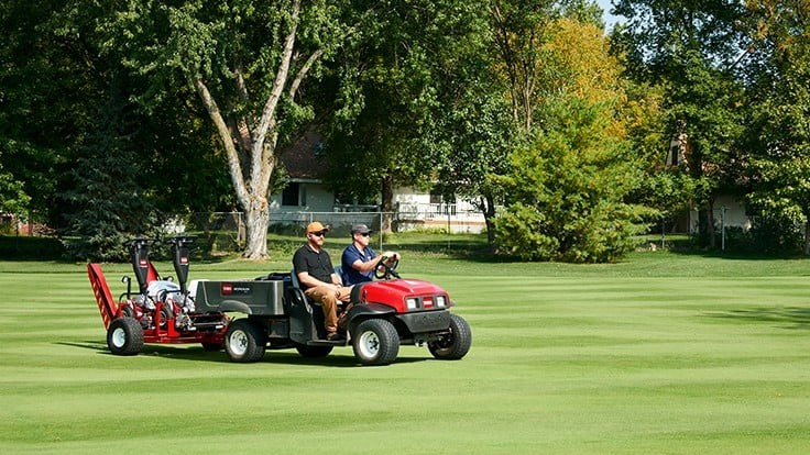 Toro introduces trailer for two walking greens mowers